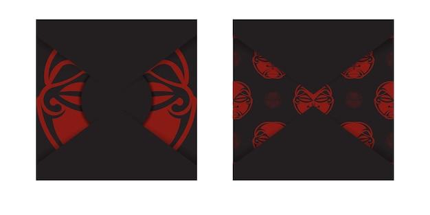 Czarny baner z ornamentami maski bogów i miejscem na twoje logo. szablon do druku projektu pocztówki z twarzą w ozdoby w stylu polienian. wektor