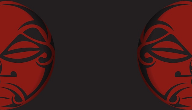Czarny baner z ornamentami maski bogów i miejscem na twoje logo. szablon do druku projektu pocztówki