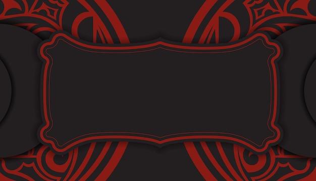 Czarny baner z ornamentami polinezji i miejscem na twoje logo. szablon do druku tła z luksusowymi wzorami.