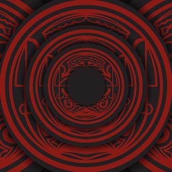 Czarny baner z ornamentami polinezji i miejscem na twoje logo. szablon do wydruku wzór tła z wzorami.