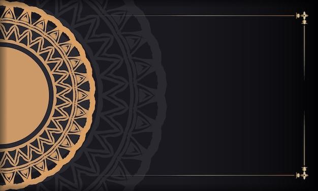 Czarny baner z ozdobami i miejscem na twoje logo. szablon tła do druku z abstrakcyjnymi wzorami.