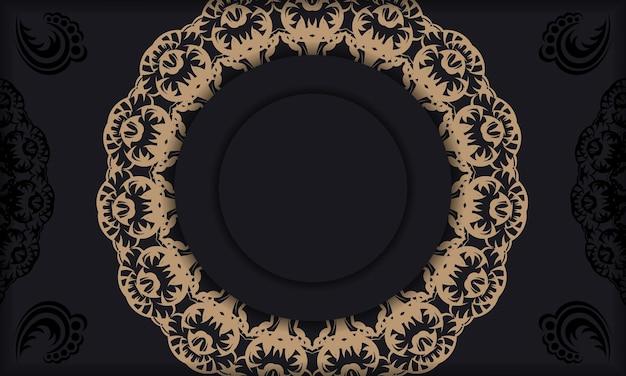 Czarny baner z vintage brązowym ornamentem i miejscem na logo lub tekst