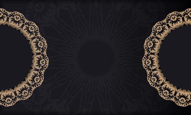 Czarny baner z vintage brązowym ornamentem i miejscem na logo
