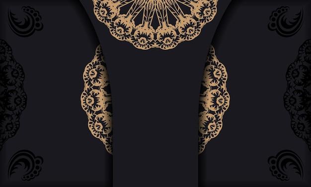 Czarny baner z vintage brązowym ornamentem i miejscem na twoje logo