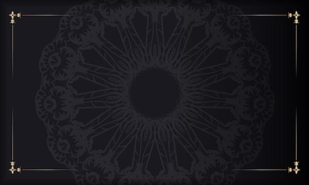 Czarny baner z vintage brązowym wzorem i miejscem na logo lub tekst