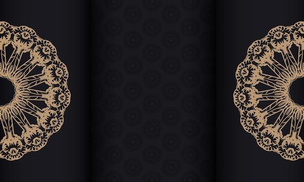 Czarny baner z vintage brązowym wzorem i miejscem na logo
