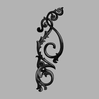 Czarny barokowy kwiatowy elementy wektor