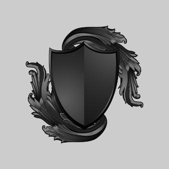 Czarny barokowy tarcza elementów wektor