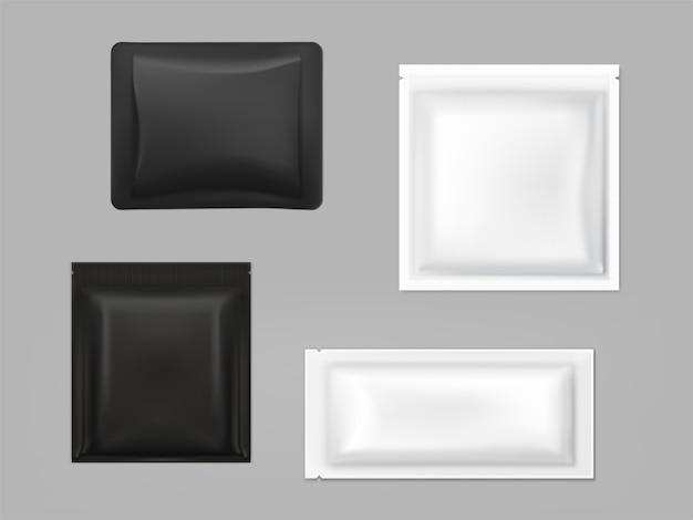 Czarny, biały antybakteryjny wycierania saszetek wektor zestaw