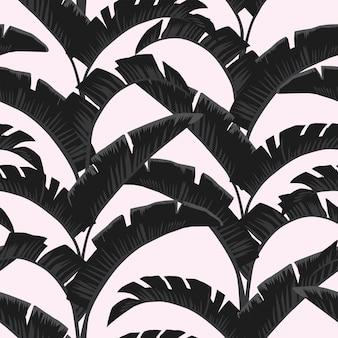 Czarny biały banan opuszcza lekką różę bezszwową deseniową tapetę