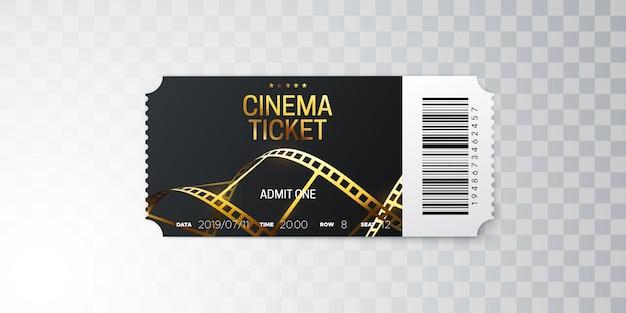 Czarny bilet do kina ze złotą taśmą filmową na białym tle