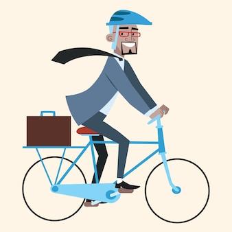 Czarny biznesmen na rowerze jedzie do pracy
