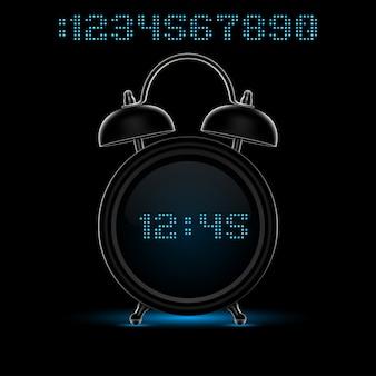 Czarny budzik z neonowymi cyframi