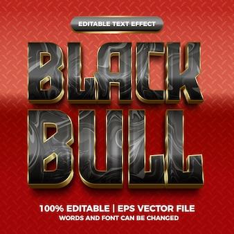 Czarny byk marmurowy złoty 3d edytowalny efekt tekstowy