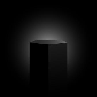 Czarny cokół pięciokątny. stanowisko ekspozycyjne