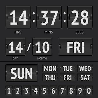 Czarny cyfrowy zegar z tablicą wyników z datą i godziną tygodnia