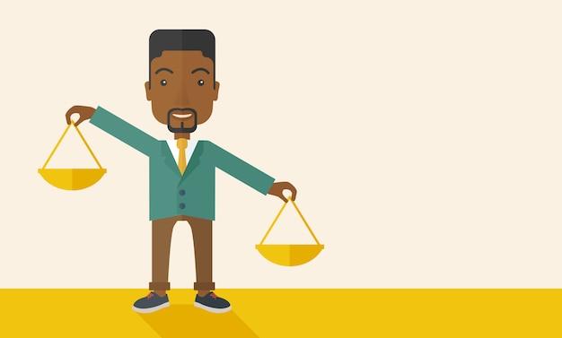 Czarny człowiek posiadający skalę ważenia.