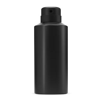 Czarny dezodorant w sprayu butelka na białym tle wektor pusty aluminiowy antyperspirant może szablon