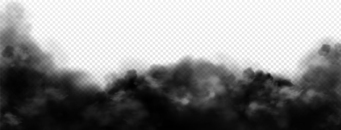 Czarny dym, brudna toksyczna mgła lub realistyczna ilustracja smogu na białym tle.