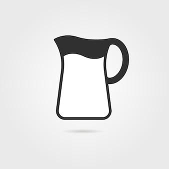 Czarny dzban z mlekiem i cieniem. koncepcja naczynia kuchenne, naczynia do gotowania, ceramika, naczynia, dzban. na białym tle na szarym tle. płaski trend nowoczesny projekt logo ilustracja wektorowa