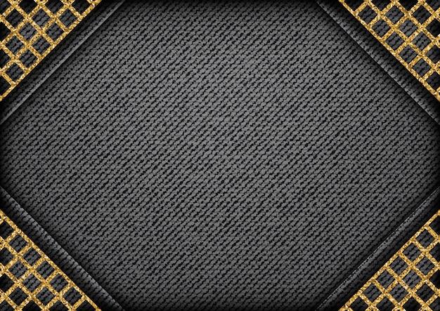 Czarny dżins ze złotymi błyszczącymi kątami