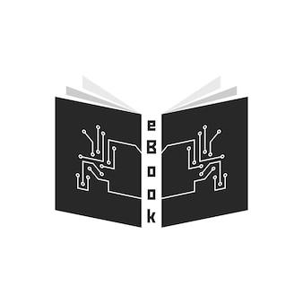 Czarny ebook z elementami pcb. koncepcja czytnika, tabletu, e-learningu, gadżetu, prasy periodycznej, szkolenia. na białym tle. płaski trend w nowoczesnym stylu projektowania ilustracji wektorowych