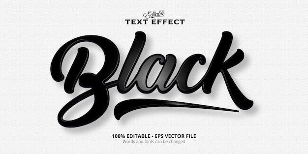 Czarny efekt tekstowy edytowalny efekt tekstowy w stylu plastiku