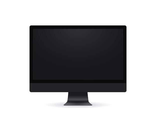 Czarny ekran komputera, realistyczny makieta monitor cienkich ramek w nowoczesnym stylu z pustym ekranem z przodu widok na białym tle.