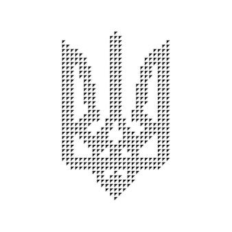 Czarny emblemat ukrainy z trójkątów. pojęcie symboliki, kijów, znak wyróżnienia, rewolucja ukraińska. na białym tle. płaski trend nowoczesny projekt logo ilustracja wektorowa