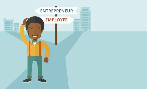 Czarny facet mylony z przedsiębiorcą lub pracownikiem