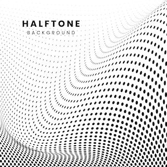 Czarny falisty halftone na białym tło wektorze