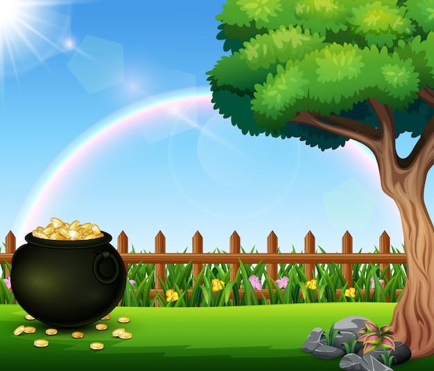Czarny garnek pełne monety na pięknej naturze