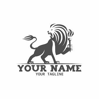 Czarny heraldyczny lew z ilustracją logo pochodni