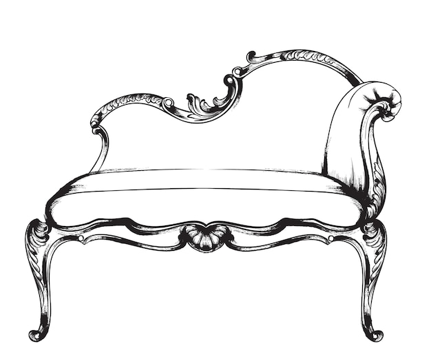 Czarny i biały. doodle bogaty barokowy fotel