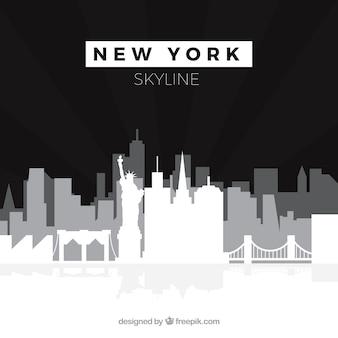 Czarny i biały linia horyzontu nowy york