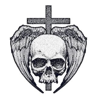 Czarny i biały ludzka czaszka z skrzydłami i przecinającą ilustracją