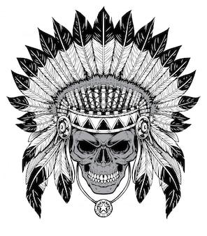 Czarny i biały szef czaszki