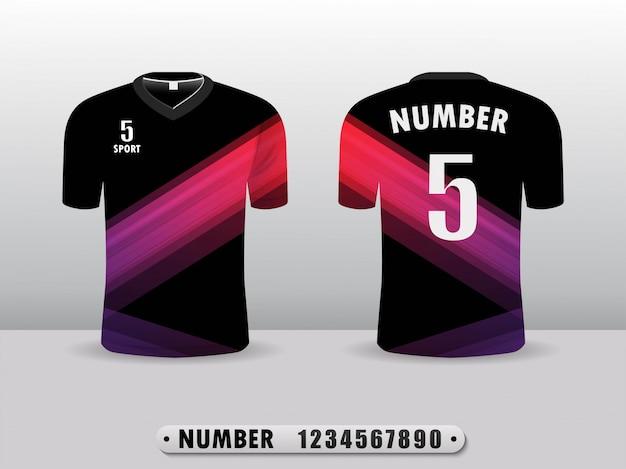 Czarny i fioletowy koszulka piłkarska t-shirt sportowy design.