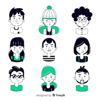 Czarny i zielony ręcznie rysowane awatar ludzi