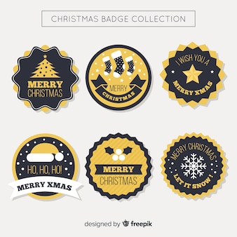 Czarny i złoty boże narodzenie odznaka kolekcja