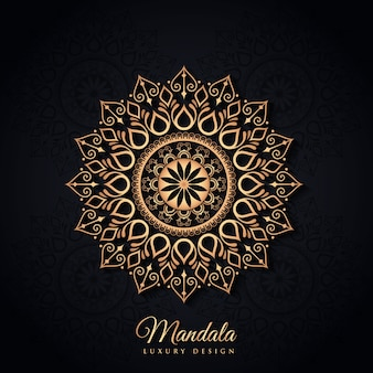 Czarny i złoty luksusowy mandali tło