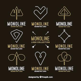 Czarny i złoty pakiet logo monolinu