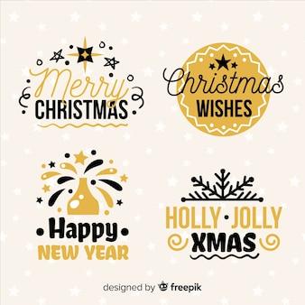 Czarny i złoty zbiór etykiet świątecznych