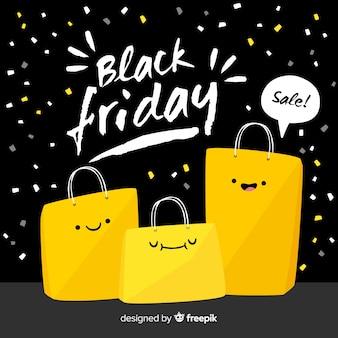 Czarny i żółty czarny piątek sprzedaży tło