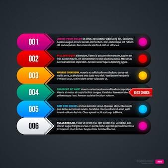 Czarny infograpic szablon