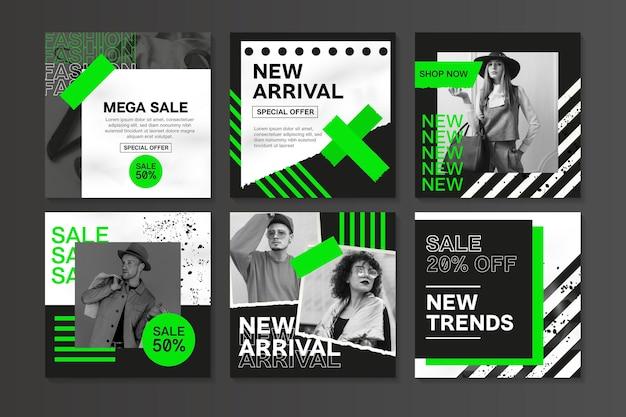 Czarny instagram sprzedaży w kolorze białym i zielonym