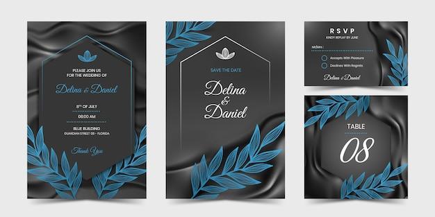 Czarny jedwab i zaproszenie z niebieskim liściem