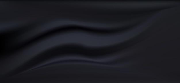 Czarny jedwabny materiał satynowy
