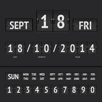 Czarny kalendarz cyfrowy z tablicą wyników z datą i godziną tygodnia