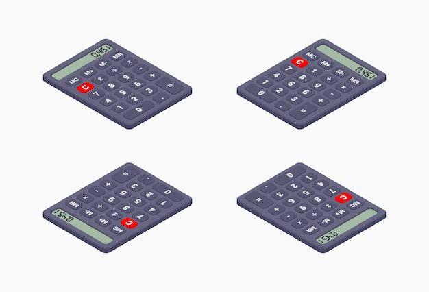 Czarny kalkulator izometryczny